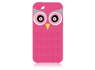 Husa silicon Apple iPhone 5 Owl 3D roz