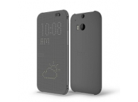 Husa plastic HTC One (M8) HC M100 Case Dot View Flip gri Blister Originala