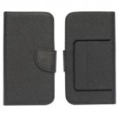 Husa piele Fancy Magnet pentru telefon 4.3 - 4.5 inci, dimensiuni interioare 131 x 68 mm, neagra