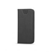 Husa piele Case Smart Magnet pentru telefon 4.7 - 5.3 inci, dimensiuni interioare 145 x 75 mm, Neagra, Bulk