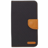 Husa textil Canvas pentru telefon 5.5 inci, dimensiuni interioare 155 x 85 mm, neagra-maro