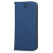 Husa piele Case Smart Magnet pentru telefon 4.5 - 5 inci, dimensiuni interioare 135 x 70 mm, bleumarin
