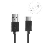 Cablu Date si Incarcare USB - USB - Type-C OEM, 1m, Negru