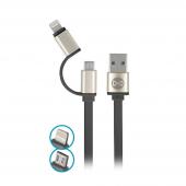 Cablu Date si Incarcare USB la Lightning - USB la MicroUSB Forever Metal Head, 1 m, Negru