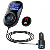 Modulator FM Bluetooth BC30, MP3 Player, Buton de apel, 2 x USB, Negru