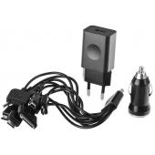 Incarcator Auto - Incarcator Retea cu cablu Setty 10 in 1, Universal, Negru, Blister