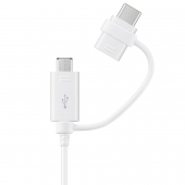 Cablu Date si Incarcare USB la MicroUSB - USB la USB Type-C Samsung, 1.5 m, Alb, Blister EP-DG930DWEGWW