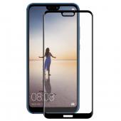 Folie Protectie Ecran OEM pentru Huawei P20 Lite, Sticla securizata, Full Face, 5D, Neagra, Blister
