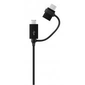 Cablu Date si Incarcare USB la MicroUSB - USB la USB Type-C Samsung EP-DG950DB Combo, 1.5 m, Negru