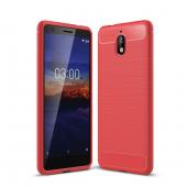 Husa TPU OEM Carbon pentru Nokia 3.1, Rosie