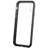 Husa Aluminiu OEM Magnetic Frame Hybrid cu spate din sticla pentru Apple iPhone X / Apple iPhone XS, Neagra, Bulk