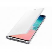 Husa Textil Samsung Galaxy S10+ G975, Led View, Alba, Blister EF-NG975PWEGWW