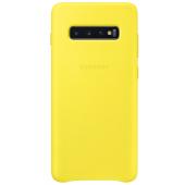 Husa Piele Samsung Galaxy S10+ G975, Leather Cover, Galbena, Blister EF-VG975LYEGWW