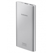 Baterie Externa Powerbank Samsung EB-P100, 10000mA, Fast Charging, 2 x USB, Port alimentare MicroUSB, Argintie, Blister EB-P1100BSEGWW