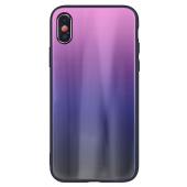 Husa TPU OEM Aurora cu spate din sticla pentru Apple iPhone 6 / Apple iPhone 6s, Neagra - Roz