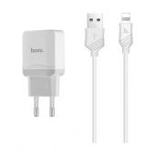 Incarcator Retea cu cablu Lightning HOCO C22A, 1 X USB, Alb, Blister