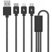 Cablu Incarcare USB la Lightning - USB la MicroUSB - USB la USB Type-C DEVIA Pheez 3in1 8-pin, 1 m, Negru, Blister