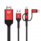 Cablu Audio si Video HDMI la MicroUSB - HDMI la USB Type-C - HDMI la Lightning - USB la HDMI OEM 3in1, 2m, Negru - Rosu