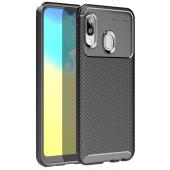 Husa TPU OEM Carbon Fiber Antisoc pentru Samsung Galaxy A20e, Neagra, Bulk