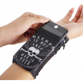 Husa OEM Wrist Pack White Skull pentru Telefon 5.5 inci, Dimensiuni interioare 150 x 70 mm, Neagra Alba
