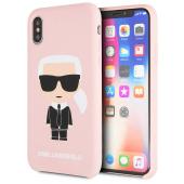 Husa TPU Karl Lagerfeld Ikonik Full Body pentru Apple iPhone X / Apple iPhone XS, Roz, KLHCPXSLFKPI