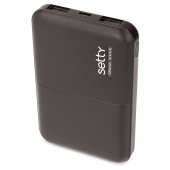 Baterie Externa Powerbank Setty, 5000 mA, 2 x USB, Neagra, Blister