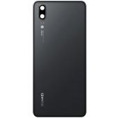 Capac Baterie - Geam camera blitz Huawei P20, Negru, Swap