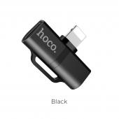 Adaptor Audio Splitter Lightning la Lightning HOCO LS20, Negru, Blister