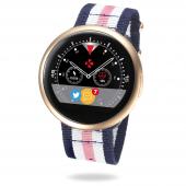Ceas Bluetooth Smartwatch MyKronoz ZeRound2HR Premium, Pink - White - Blue NATO Band, roz auriu, Blister KRZEROUND2HR