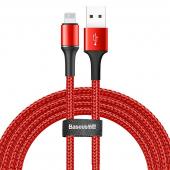 Cablu Date si Incarcare USB la Lightning Baseus Halo, 1.5A, 2 m, Cu LED, Rosu CALGH-C09