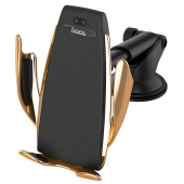 Incarcator Auto Wireless HOCO CA34 Elegant Air Outlet, Quick Charge, Senzor IR, 10W, Auriu