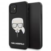 Husa Piele Karl Lagerfeld pentru Apple iPhone 11, Iconik Embossed & Glitter, Neagra KLHCN61GLBK
