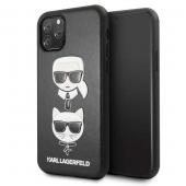 Husa Piele Karl Lagerfeld pentru Apple iPhone 11 Pro, Karl & Choupette, Neagra, Blister KLHCN58KICKC