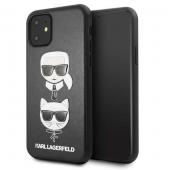 Husa Piele Karl Lagerfeld pentru Apple iPhone 11, Karl & Choupette, Neagra KLHCN61KICKC