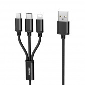 Cablu Incarcare USB la Lightning - USB la MicroUSB - USB la USB Type-C Remax Gition RC-131th, 3in1, 2.8A, 1.15 m, Negru, Blister