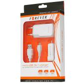 Incarcator Auto - Incarcator Retea cu cablu MicroUSB Forever, 3in1, 1A, Alb, Blister