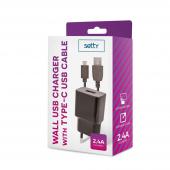 Incarcator Retea cu cablu USB Tip-C Setty, 2.4 A, Negru