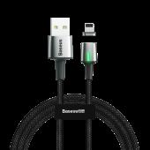 Cablu Incarcare USB la Lightning Baseus Zinc Magnetic, 2.4A, 1 m, Led, Negru CALXC-A01