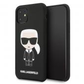 Husa TPU Karl Lagerfeld Iconic pentru Apple iPhone 11, Neagra, Blister KLHCN61SLFKBK