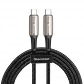 Cablu Date si Incarcare USB Type-C la USB Type-C Baseus Water Drop, PD2.0 60W, 3A, 2 m, Negru, Blister CATSD-K01
