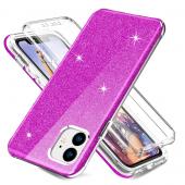 Husa TPU OEM Shockproof Glitter Full Cover pentru Apple iPhone 11, Mov, Bulk