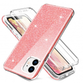 Husa TPU OEM Shockproof Glitter Full Cover pentru Apple iPhone 11, Roz, Bulk