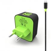 Incarcator Retea cu cablu MicroUSB Goui, 3.1A, 2 X USB, Negru, Blister G-TC2EU