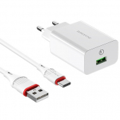 Incarcator Retea cu cablu USB Type-C Borofone BA21A Long Journey, QC 3.0, Smart ID, 18W, 1 x USB, Alb, Blister