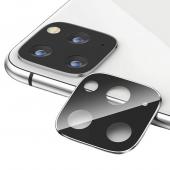 Folie Protectie Camera spate OEM pentru Apple iPhone 11 Pro / Apple iPhone 11 Pro Max, Sticla securizata, Full Cover, Titanium cu Rama metalica, Argintie, Blister