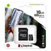 Card Memorie MicroSDHC Kingston Canvas Select Plus Android A1, Cu adaptor, 16Gb, Clasa 10 - UHS-1 U1, Blister SDCS2/16GB