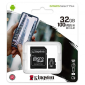 Card Memorie MicroSDHC Kingston Canvas Select Plus Android A1, Cu adaptor, 32Gb, Clasa 10 - UHS-1 U1, Blister SDCS2/32GB