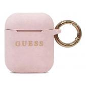Husa TPU Guess Glitter pentru Airpods 1 / 2, Roz, Blister GUACCSILGLLP