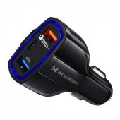 Incarcator Auto USB WZK WCC-01, Quick Charge 3.0, 1 X USB Tip-C - 2 X USB, Negru, Blister
