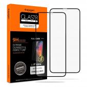Folie Protectie Ecran Spigen pentru Apple iPhone 11 Pro, Sticla securizata, Full Face, Full Glue, 9H, Set 2 buc, Neagra, Blister